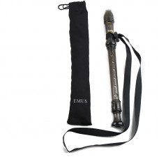 EMUS English/baroque black soprano recorder with neck strap - EME-71S