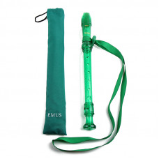 EMUS English/baroque green soprano recorder with neck strap - EME - 79S