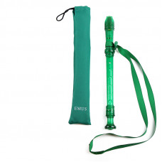 EMUS German-fingering green recorder with green neck strap - EMG-62S
