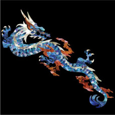 """Large inlay decal for Guitar or Ukulele - Dragon in Blue """"Abalone"""" - JIS-123"""