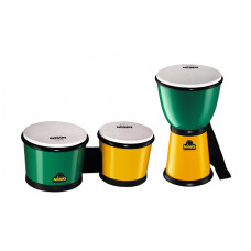 NINO djembé and bongo set, green and yellow - NINO 189G/Y