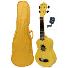 Yellow Soprano Ukulele, bag & tuner - UBT-1500